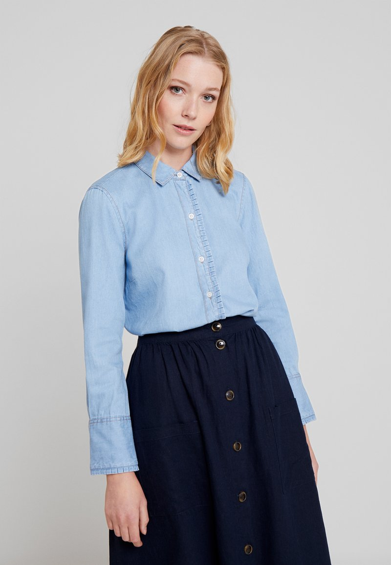 Cortefiel - BASIC WITH FRILLED PIPING - Skjortebluser - blues