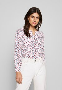 Cortefiel - CREW NECK BASIC BLOUSE WITH EYELETS DETAILS IN COLLAR - Blouse - white - 0
