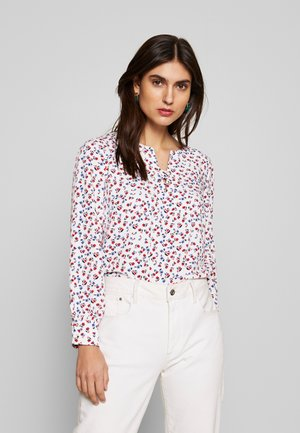 CREW NECK BASIC BLOUSE WITH EYELETS DETAILS IN COLLAR - Bluser - white