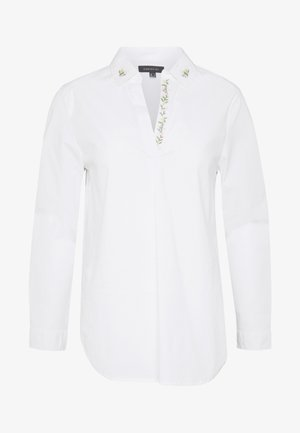 POLO NECK BLOUSE WITH EMBROIDERY DETAIL - Košile - white