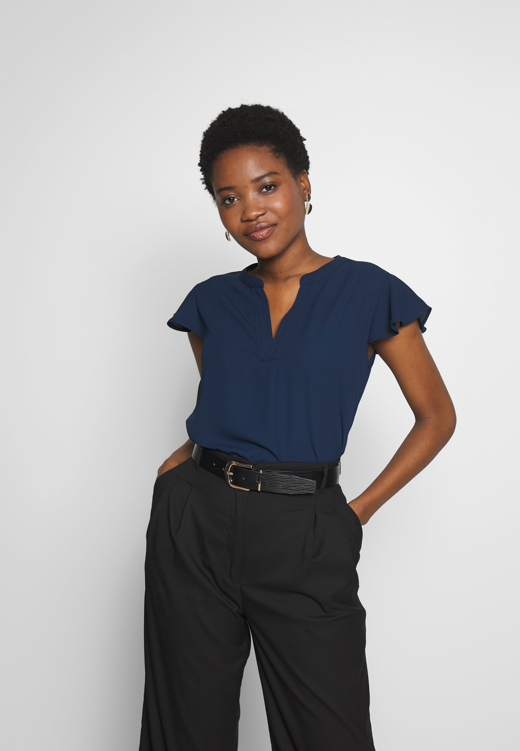 Cortefiel BLOUSE WITH FRILLED SLEEVES - Bluser - navy
