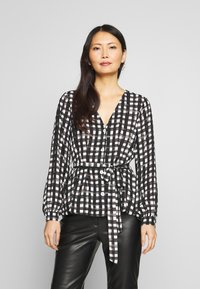 Cortefiel - V-NECK VICHY BLOUSE WITH BELT - Blusa - black - 0