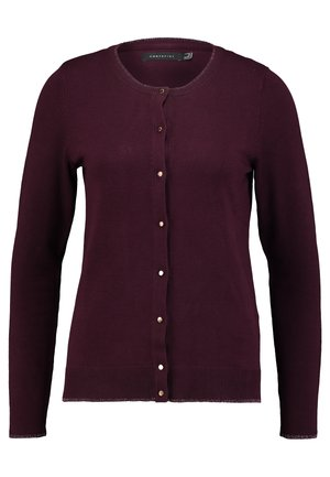 CREW NECK BASIC CARDIGAN - Cardigan - bordeaux
