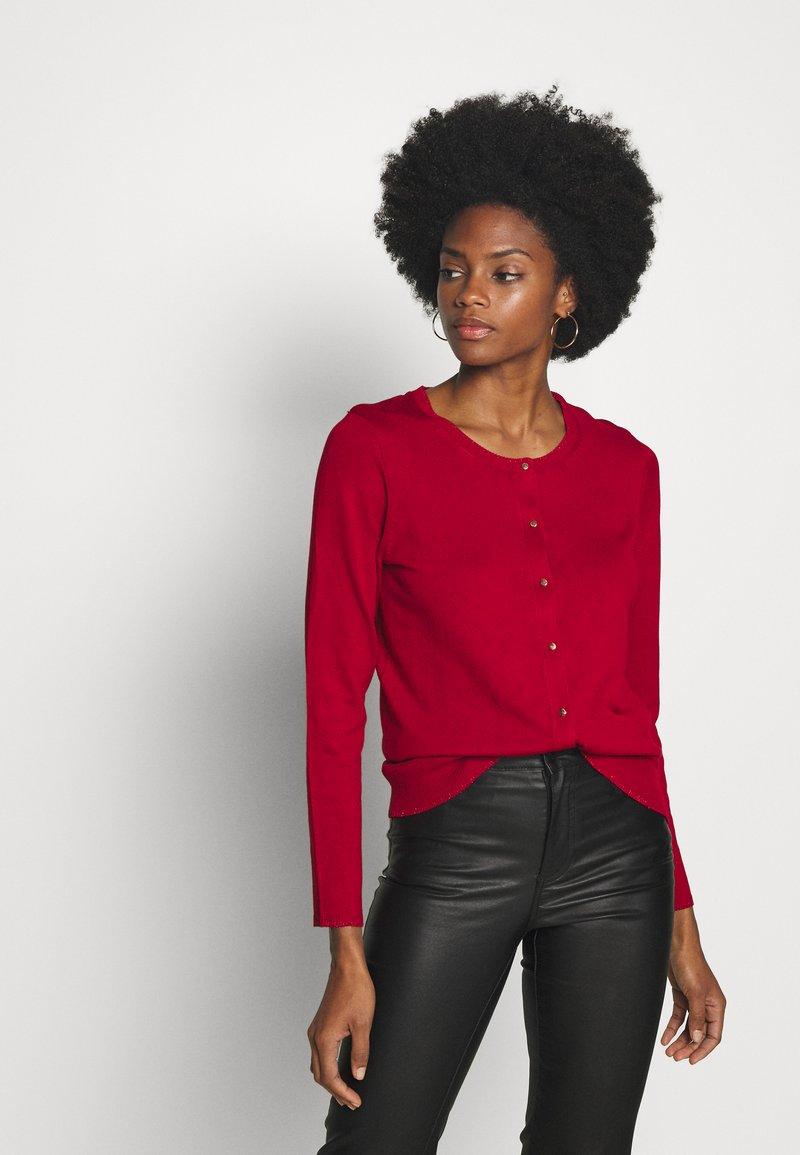 Cortefiel - CREW NECK BASIC - Cardigan - red