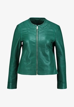 CLASSIC WITH EMBROIDERY DETAIL - Veste en cuir - greens