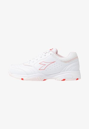 SMASH 3 - Multicourt tennis shoes - white/lively hibiscus red