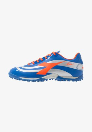 Astro turf trainers - royal/silver/red fluo
