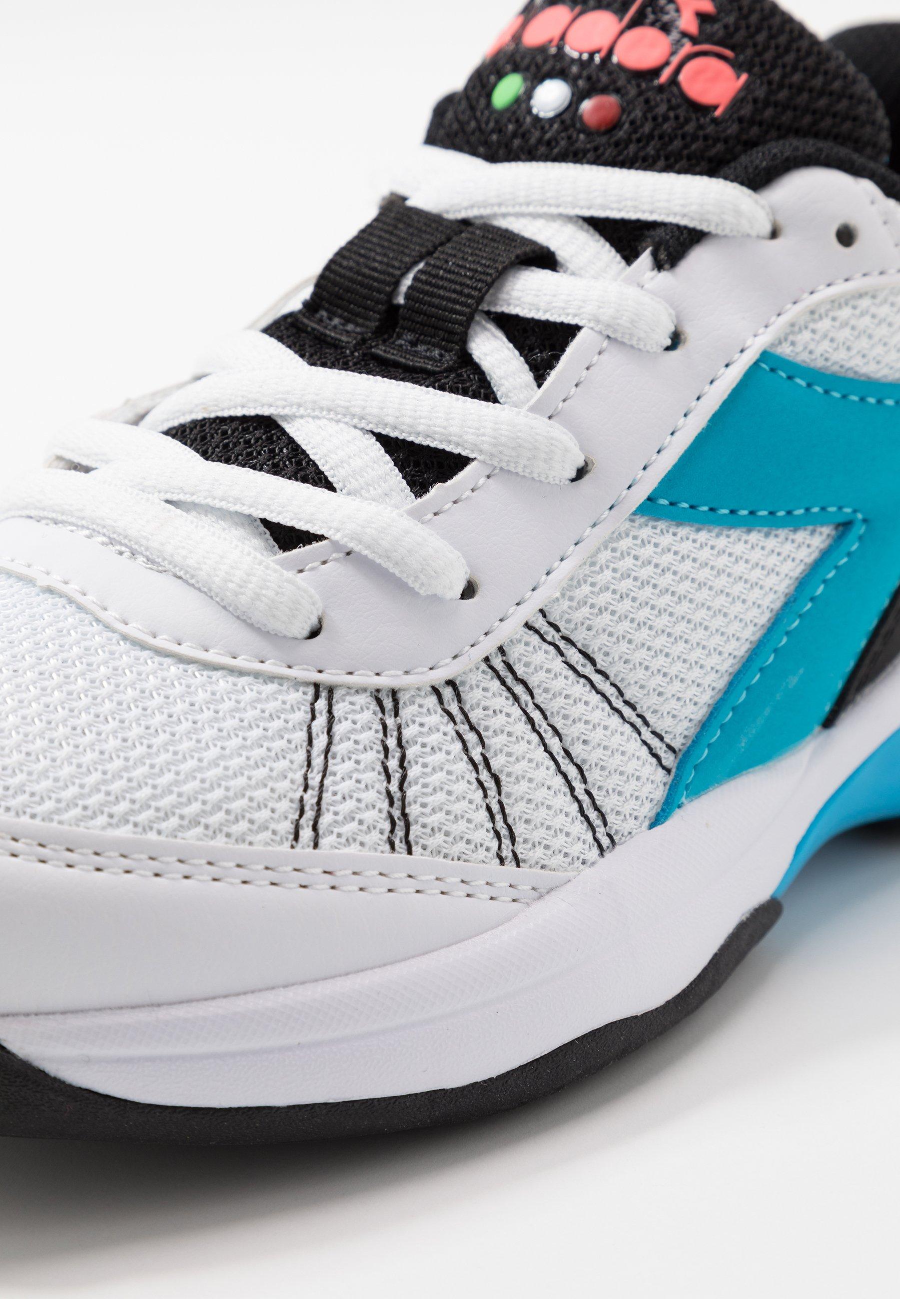 Diadora S. CHALLENGE 3 - Buty tenisowe uniwersalne - white/blue fluo