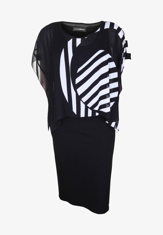 MIT GEMUSTERTEM ÜBERWURF - Jerseykleid - black