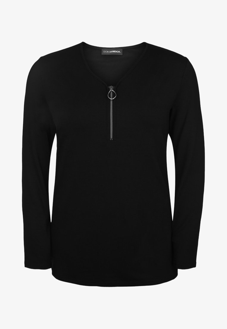 DORIS STREICH - MIT V-AUSSCHNITT - Long sleeved top - black