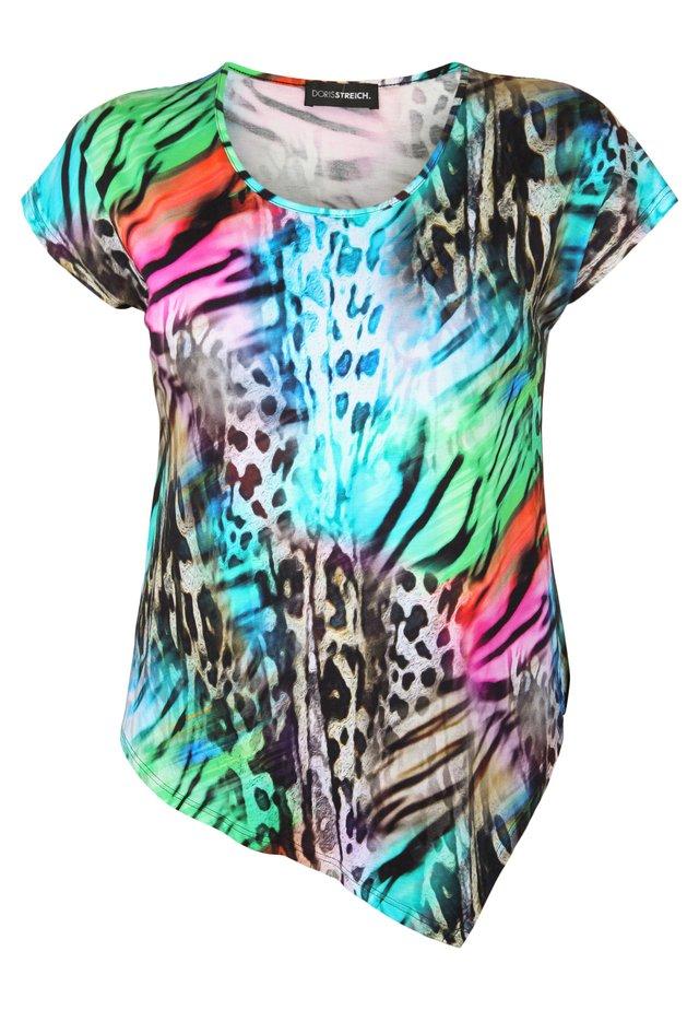SHIRT IM ANIMAL-LOOK - T-shirt imprimé - turquoise