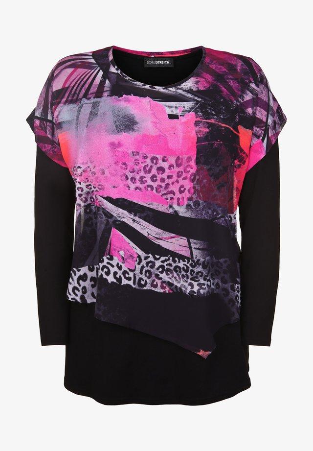 MIT BUNTEM ÜBERWURF - T-shirt à manches longues - pink