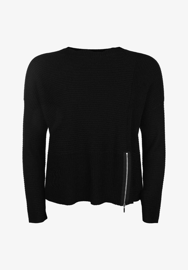 MIT RUNDHALSAUSSCHNITT - Pullover - black