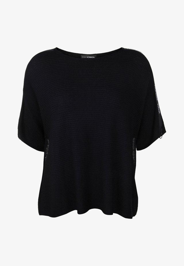 MIT ZIPPER-SCHULTERN - T-shirt con stampa - black