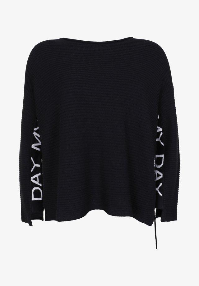 MIT ZIPPER - Sweater - schwarz/weiß