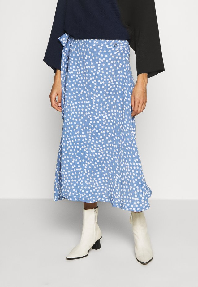 JASMIN SKIRT - Wikkelrok - waterblue/chalk big funny dots