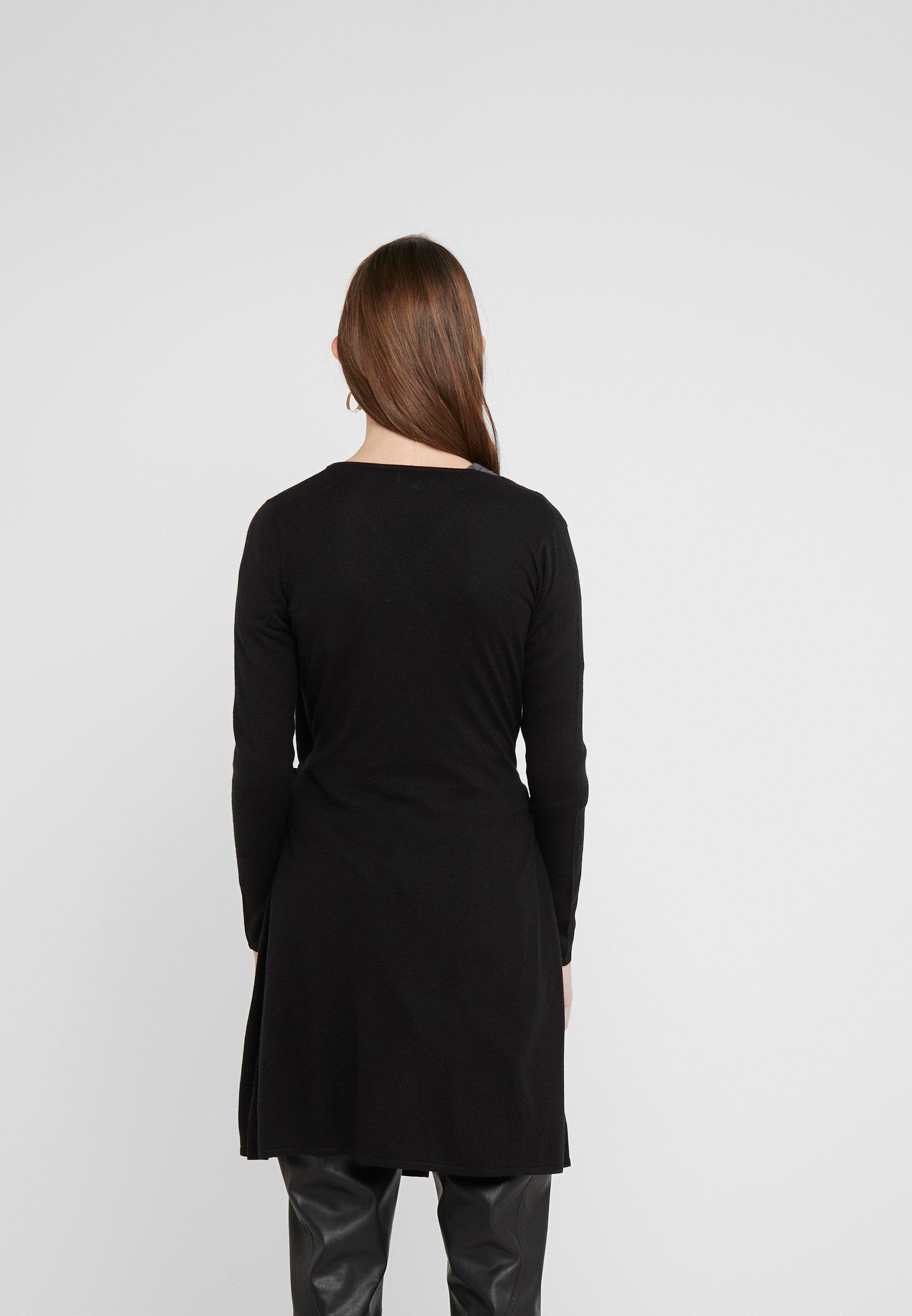 Davida Cashmere WRAP OVER DRESS - Cardigan - black
