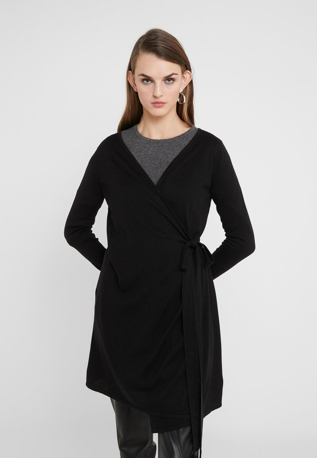 WRAP OVER DRESS - Strickjacke - black
