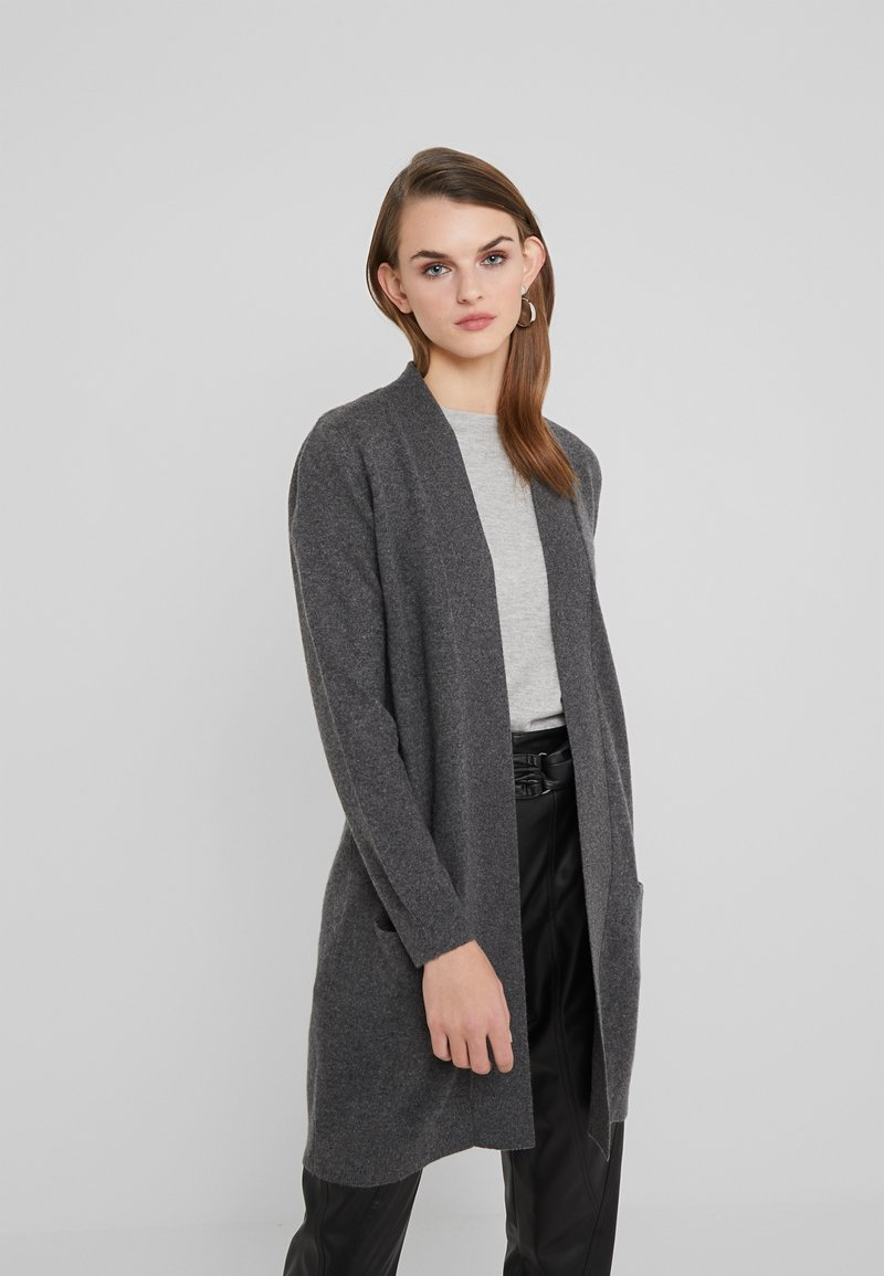 Davida Cashmere - POCKET LONG - Gilet - dark grey