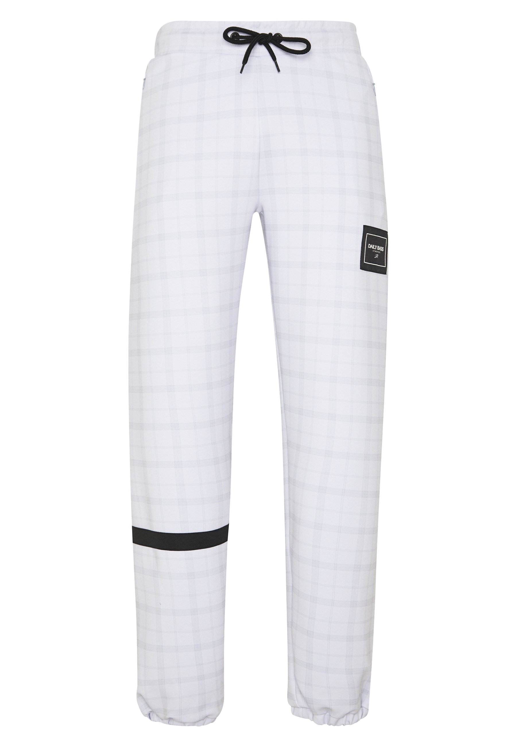 Daily Basis Studios Joggers In Tech Check - Träningsbyxor White