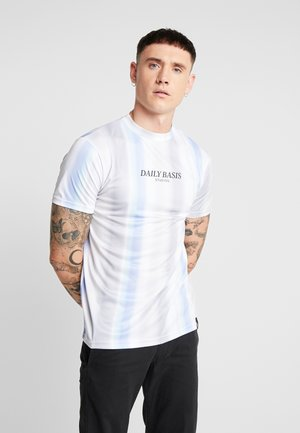 MULTI FADE STRIPE TEE - T-Shirt print - white