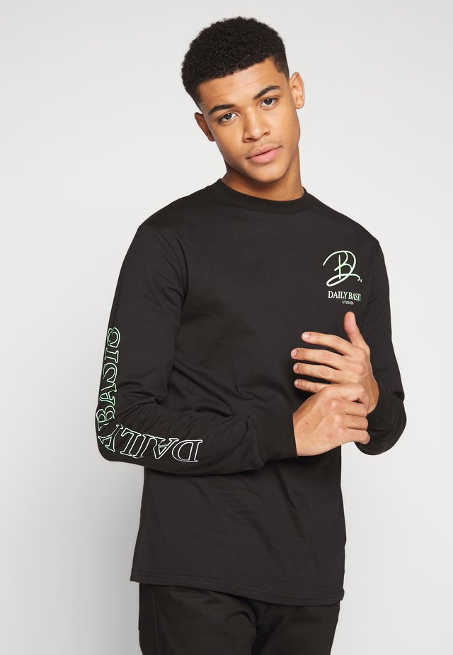 Long sleeved top - black/neon green