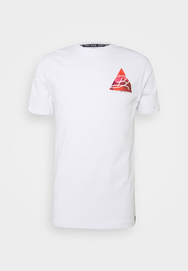 TRIANGLE - T-shirt z nadrukiem - white