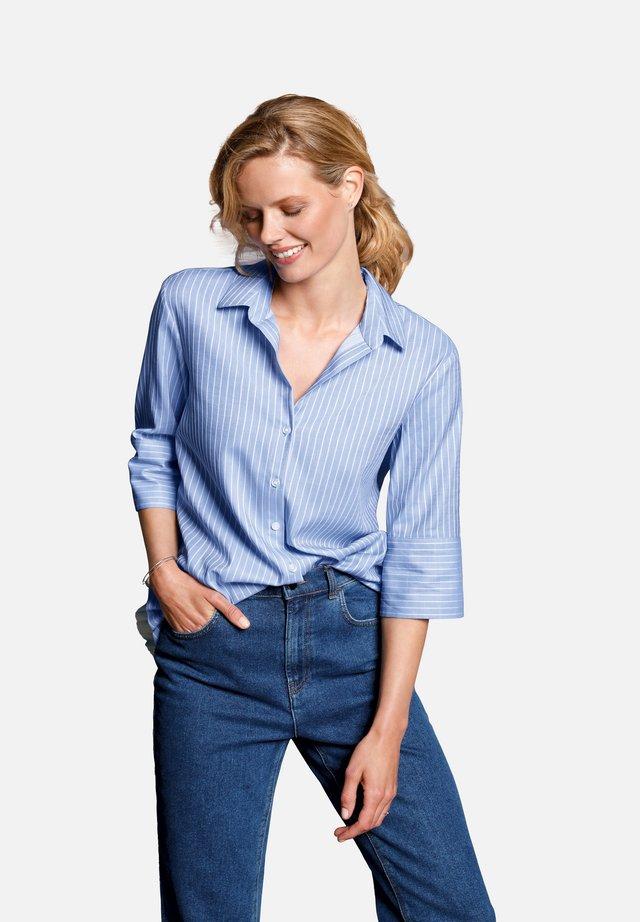 Button-down blouse - hellblau/weiß-melange