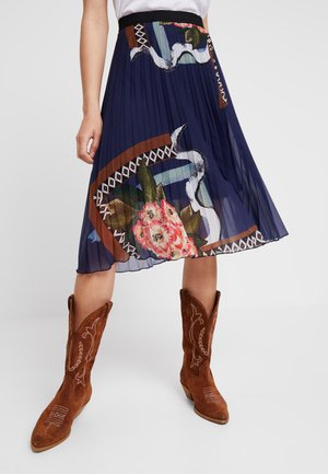FABIOLA - A-snit nederdel/ A-formede nederdele - medieval blue