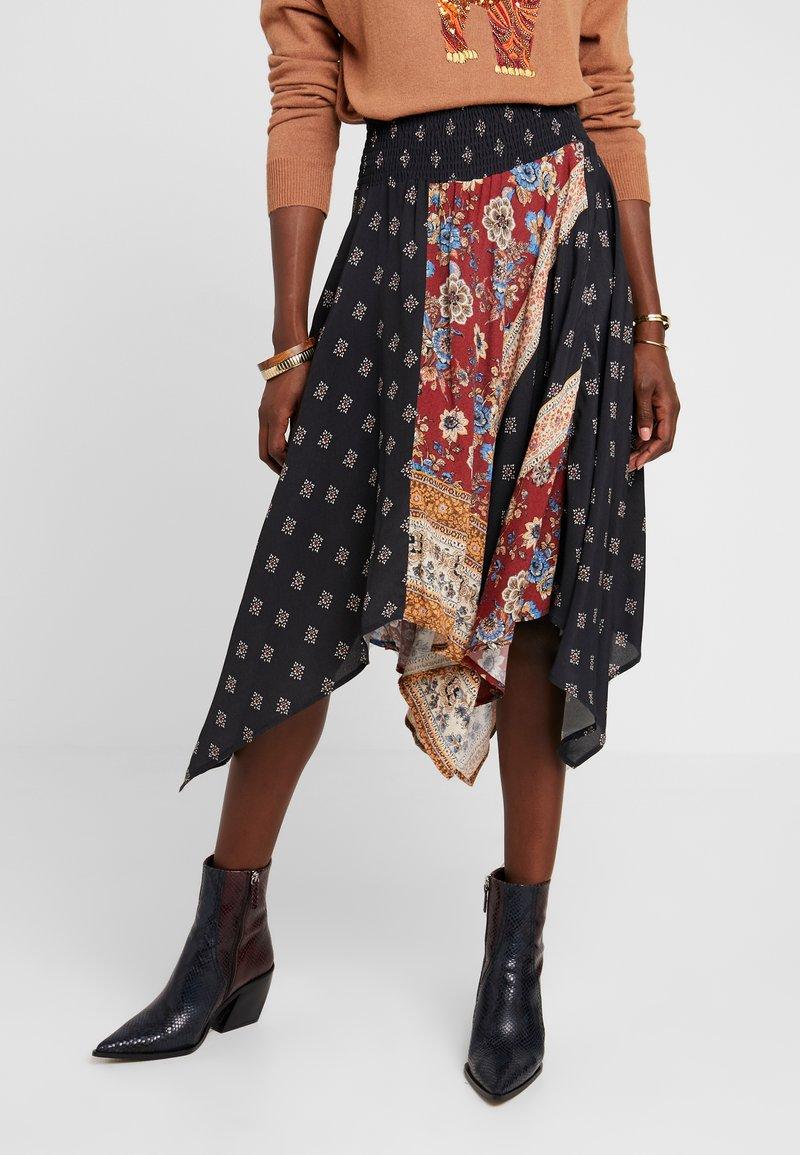 Desigual - FAL BLUNT - A-line skirt - black