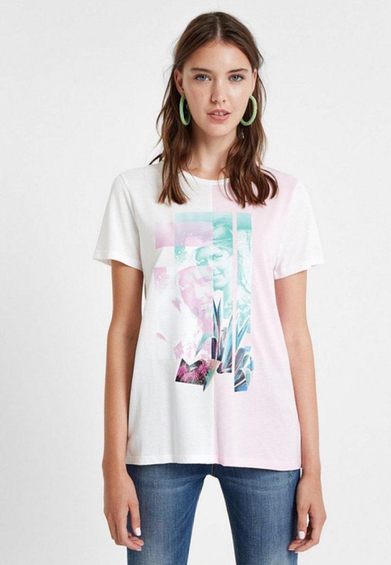 Desigual PortraitT White shirt shirt Imprimé Desigual PortraitT White Desigual Imprimé kPXOiZu
