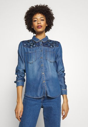CAM FLOWINGS - Bluse - denim medium wash