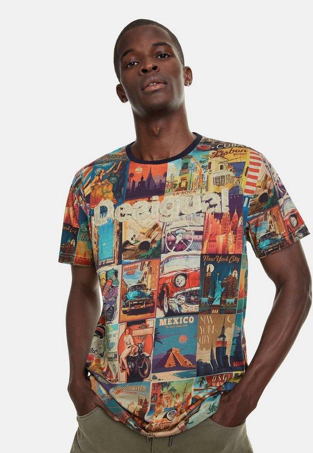 ERENESTO - T-shirt z nadrukiem - blue