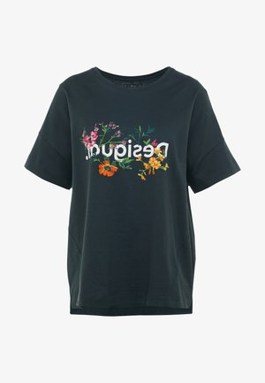 OVERSIZE FLOWERS - Print T-shirt - khaki
