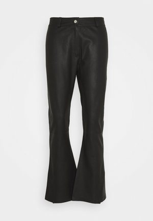 FLARE PANT - Leather trousers - black