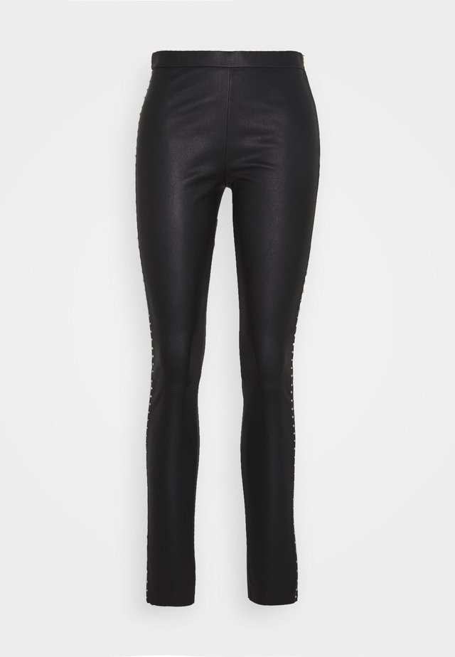 STUDS - Pantalon en cuir - black/gold
