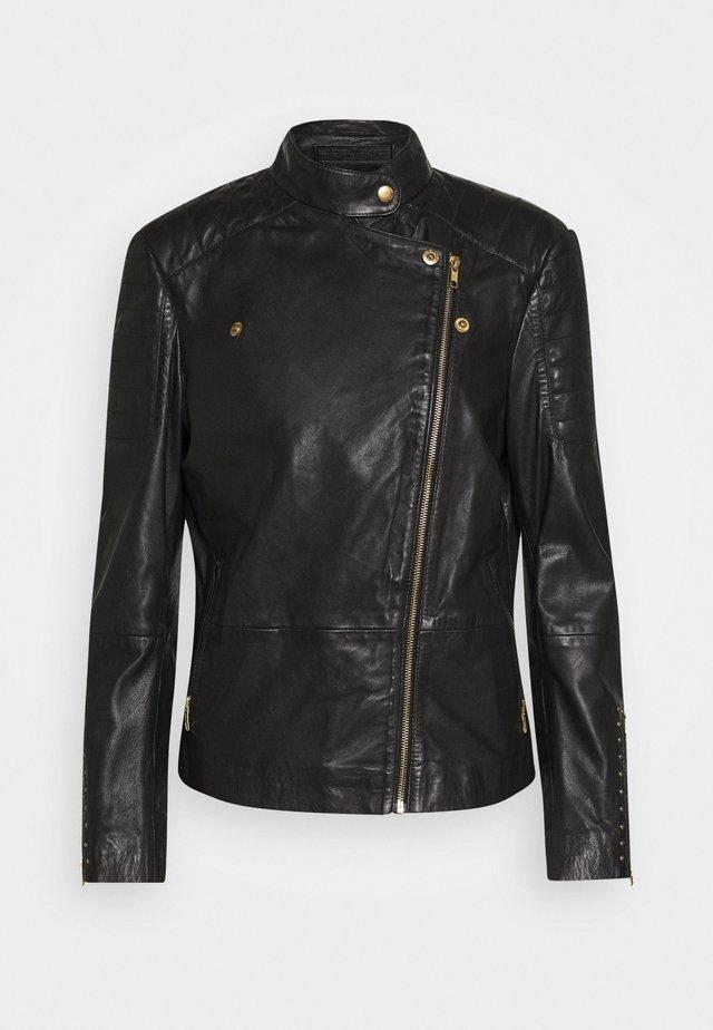 JACKET STUDS - Leather jacket - black