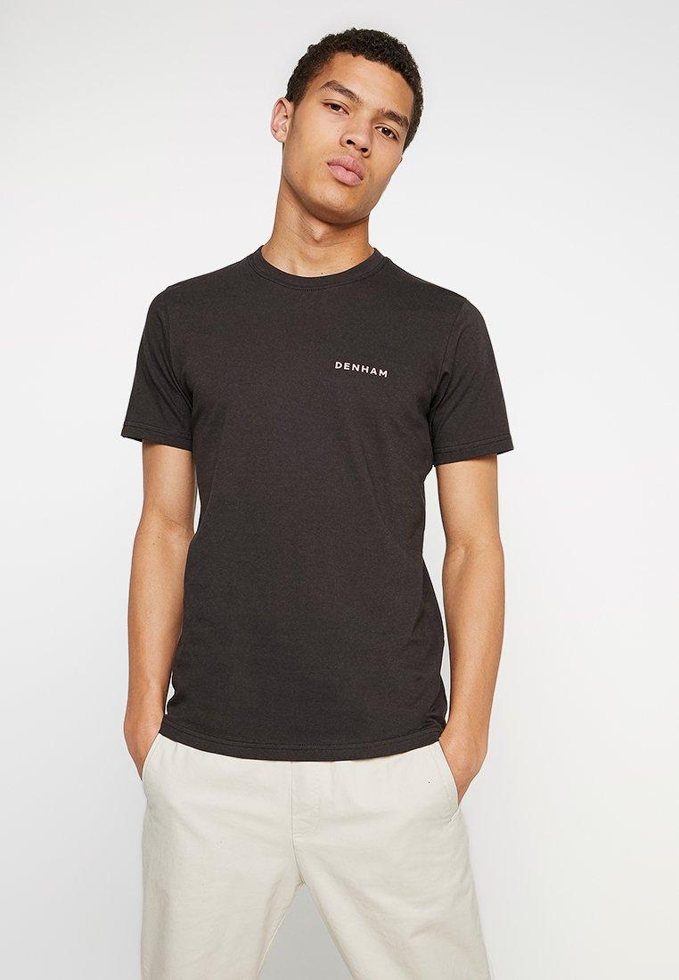 Denham - BRAND TEE - Print T-shirt - licorice black