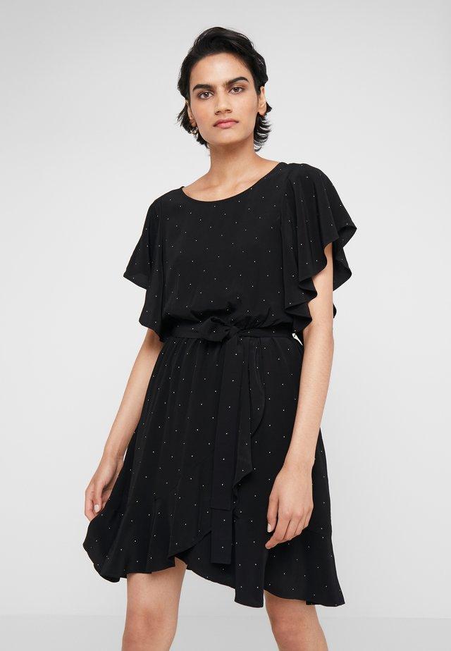 LEANA WRAP DRESS - Day dress - black/yellow