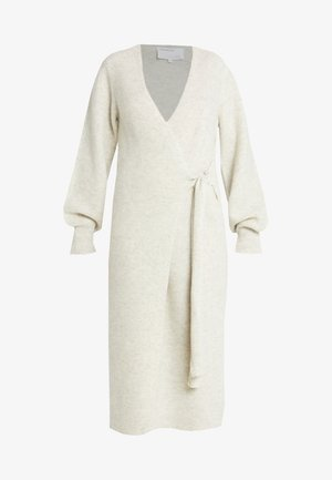 SILVIA WRAP DRESS - Strikkjoler - oatmeal