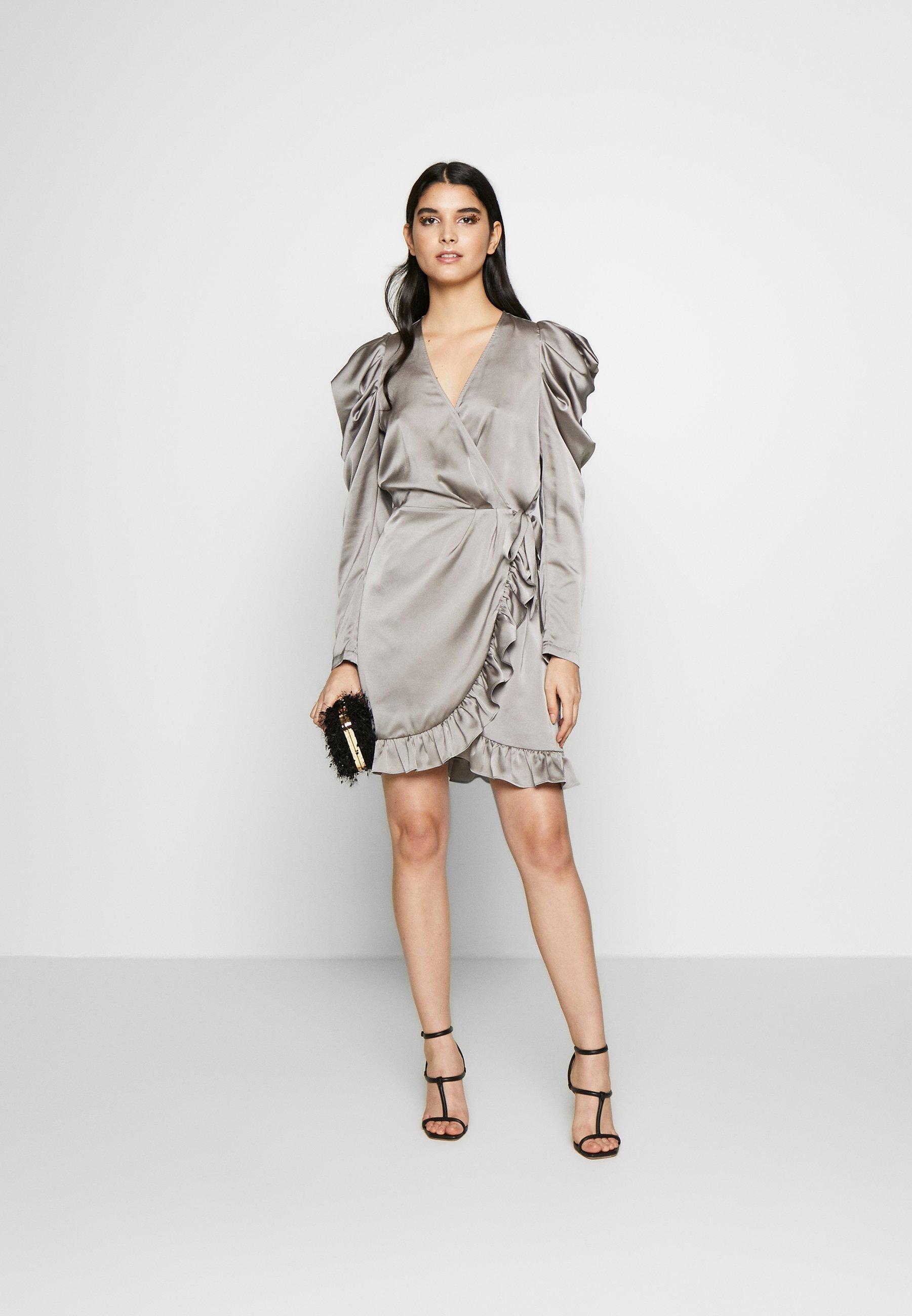 DESIGNERS REMIX LAUREN WRAP DRESS - Cocktailkjole - grey