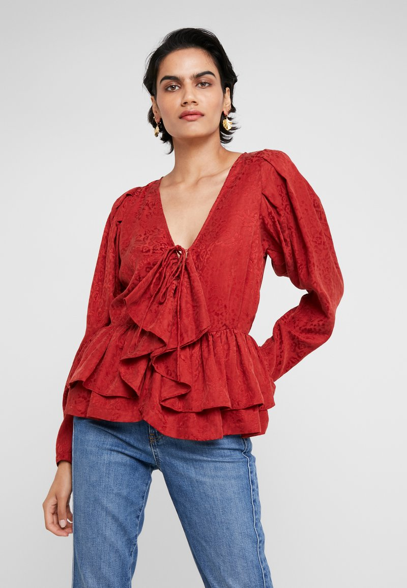 DESIGNERS REMIX - RUBEN LACE UP  - Bluse - ox blood