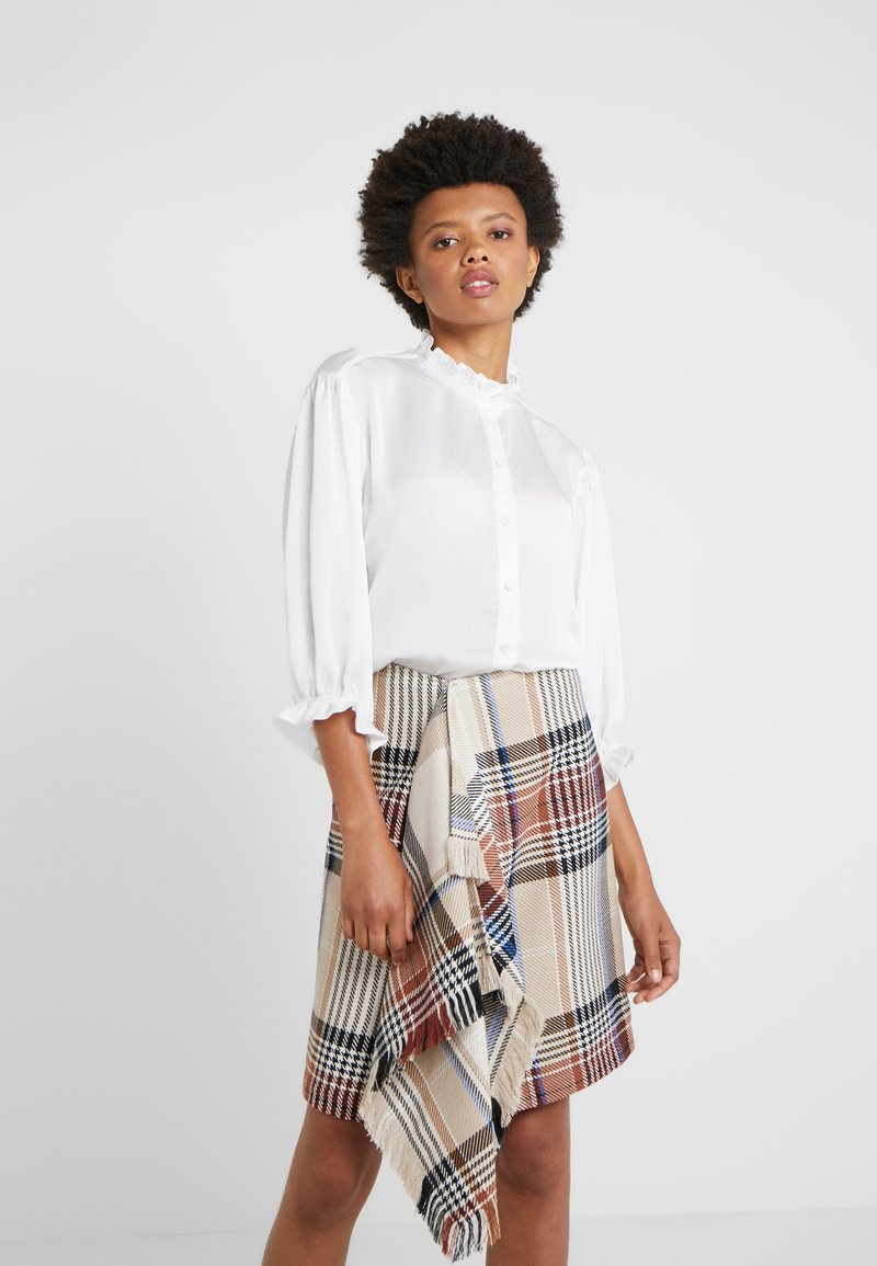 DESIGNERS REMIX - ELDA RUFFLE SHIRT - Button-down blouse - cream