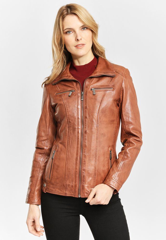 CLAIRE LONTV - Leather jacket - cognac