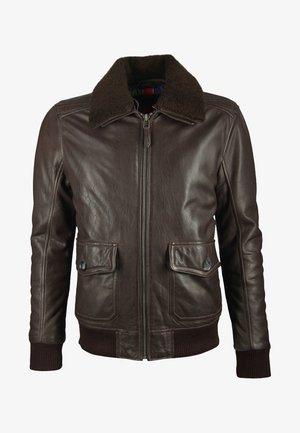 Veste en cuir - dark brown