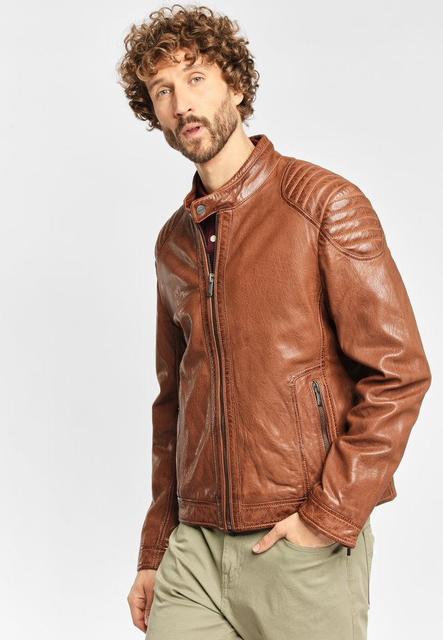 PIER NSLONTV - Leather jacket - dark camel