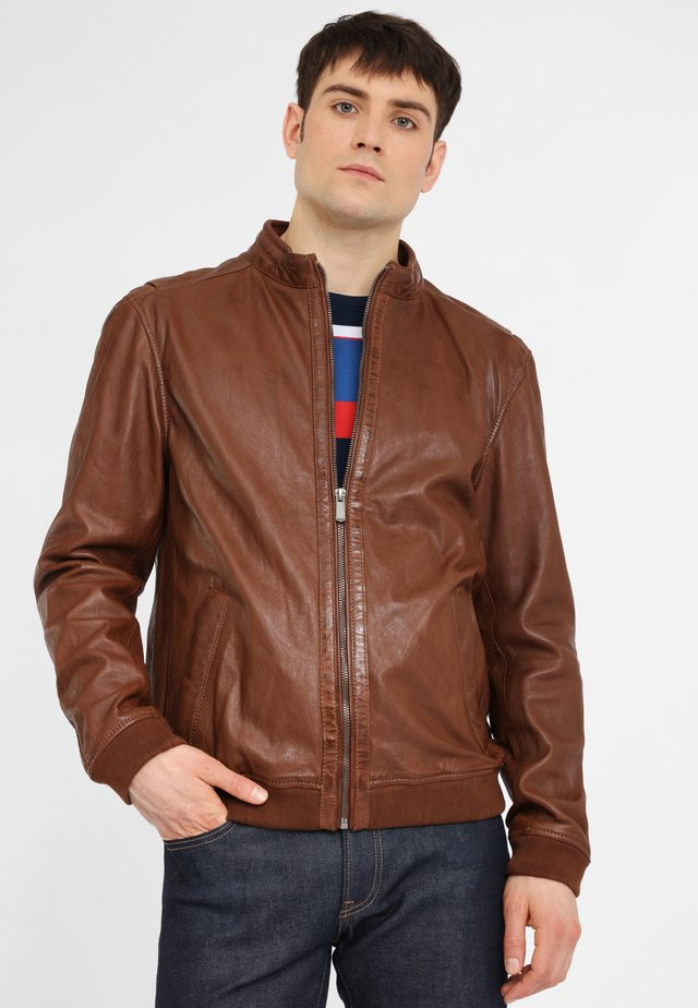 MARON LGARYV - Leather jacket - cognac