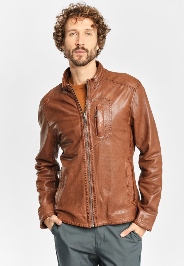 SWASH NSLONTV - Leather jacket - dark camel