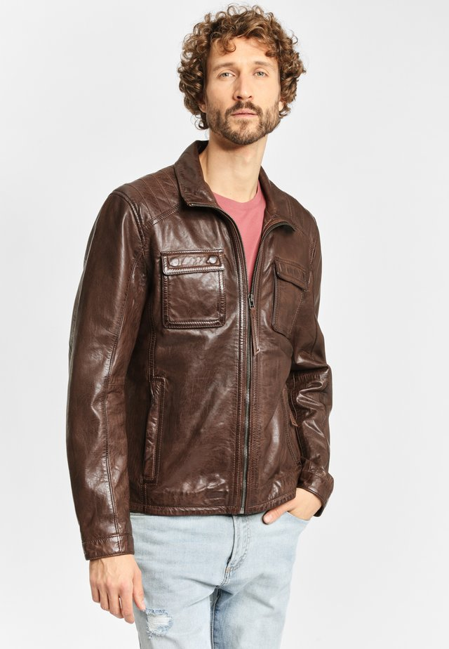 LEDERJACKE DAWN NSLV - Leather jacket - cognac