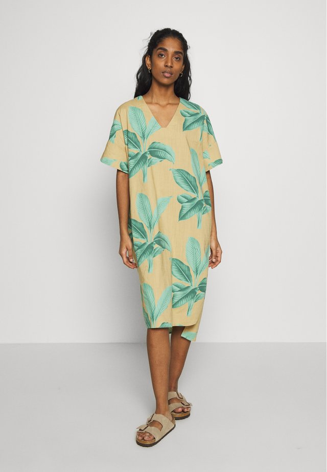 KAFTAN LYSEKIL LEAVES - Korte jurk - green